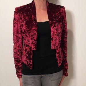 Cranberry Crushed Velvet Tuxedo Style Blazer